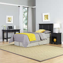 Home Styles Bedford 3-Piece Twin Headboard, Nightstand and Student Desk with Hutch Set in Black