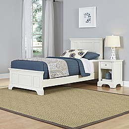 Home Styles Naples 2-Piece Twin Bed and Nightstand Set in White