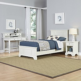 Home Styles Naples 3-Piece Twin Bed, Nightstand and Student Desk with Hutch Set in White