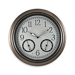 FirsTime® Indoor/Outdoor LED Trellis 18-Inch Wall Clock and Thermometer in Bronze