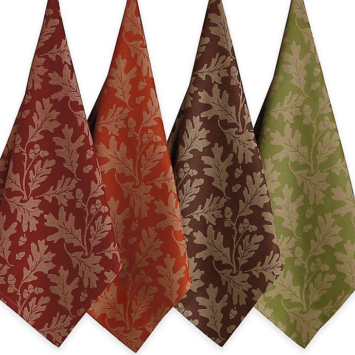 Alternate image 1 for Design Imports Great Oak Leaves Jacquard Assorted Kitchen Towels (Set of 4)