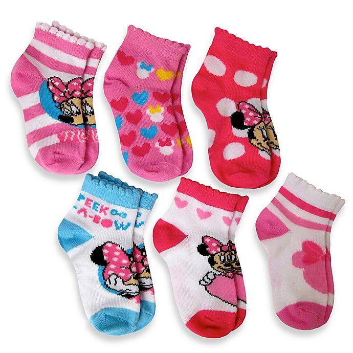 4f67dd66f8c2a Disney® 6-Pack Minnie Mouse Socks in Assorted Designs | Bed Bath ...