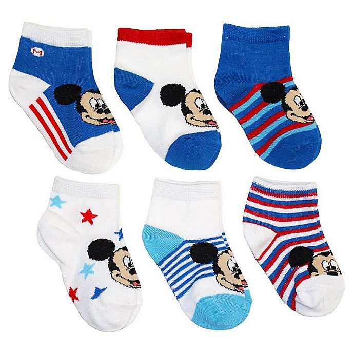 Alternate image 1 for Disney® 6-Pack Mickey Mouse Socks in Assorted Designs