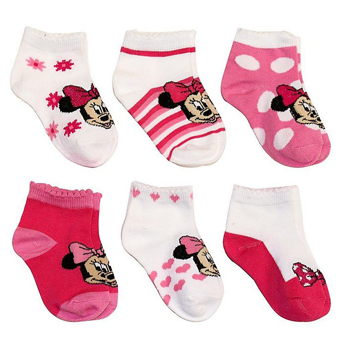 Alternate image 1 for Disney® 6-Pack Minnie Mouse Socks in Assorted Designs