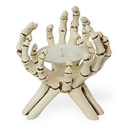 Boston International 7-Inch Skeleton Hand Candle Holder in White
