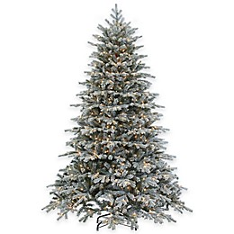 7.5-Foot Pre-Lit Flocked Vermont Spruce Christmas Tree with Clear Lights