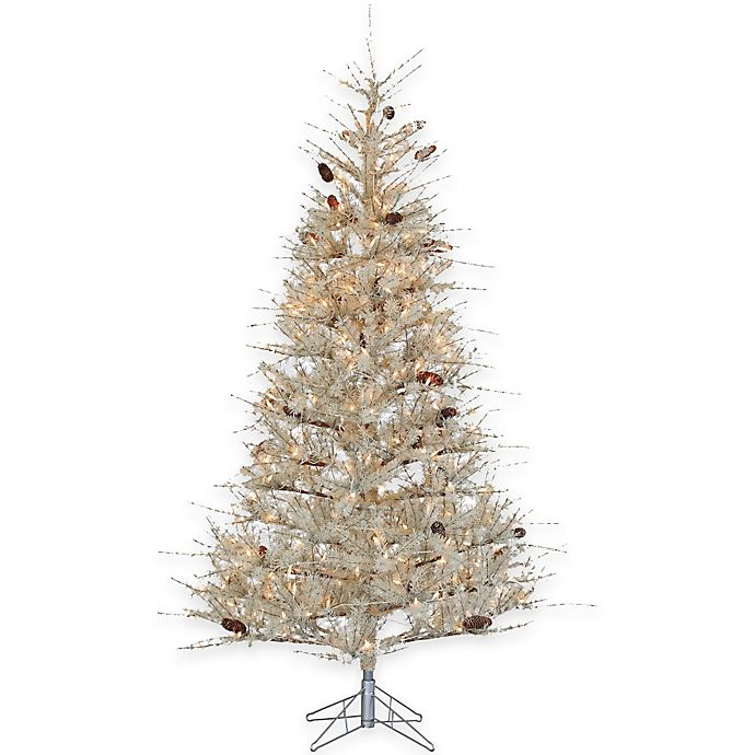Frosted Slim Christmas Tree: 7-Foot Pre-Lit Sage Frosted Hard Needle Christmas Tree