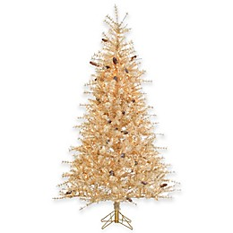 7-Foot Pre-Lit Buttercreme Frosted Hard Needle Christmas Tree with Clear Lights