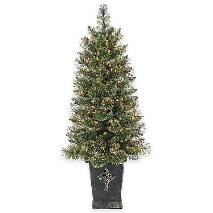 4.5-Foot Pre-Lit Potted Gold Glitter Cashmere Pine ...