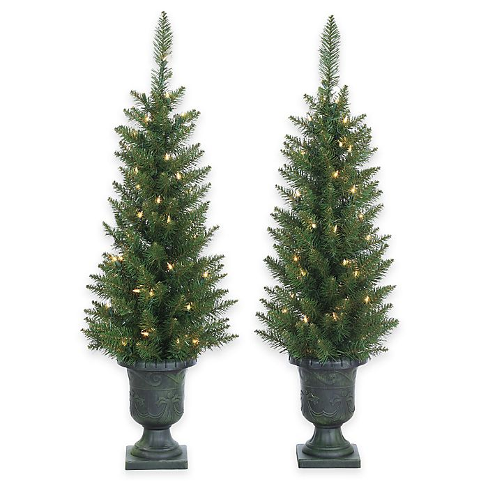 3.5-Foot Pre-Lit Potted Norway Pine Trees (Set of 2) | Bed Bath & Beyond