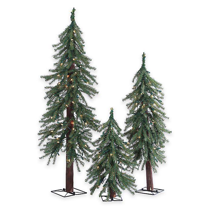 Sams Christmas Trees: Alpine Pre-Lit 3-Piece Slim Christmas Tree Set With Clear