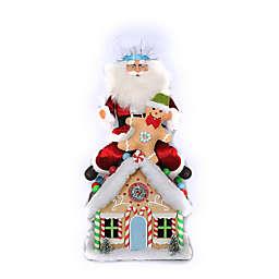 20-Inch Lighted Gingerbread House Santa Figurine