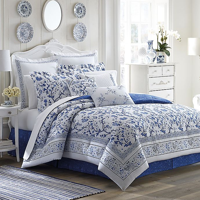 Alternate image 1 for Laura Ashley® Charlotte Comforter Set in China Blue