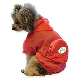 Pet Life® Medium Waterproof Folding Travel Dog Raincoat in Orange