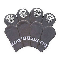 Rubberized Sole Dog Socks (Set of 4)