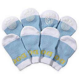Rubberized Sole Large Dog Socks in Blue/White (Set of 4)