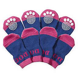Rubberized Sole Small Dog Socks in Purple/Blue (Set of 4)