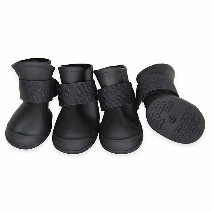 Alternate image 1 for Pet Life® Protective Multi-Terrain Rubberized Small Dog Shoes in Black (Set of 4)