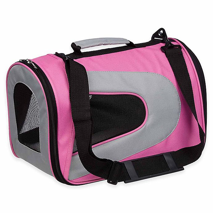 Alternate image 1 for Airline Approved Sporty Folding Zippered Mesh Large Pet Carrier in Pink