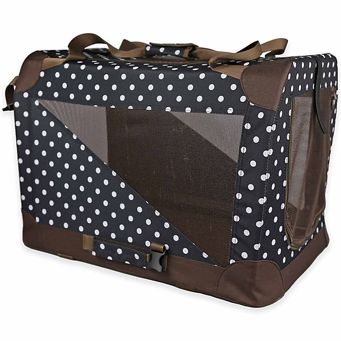 Alternate image 1 for Folding Zippered 360-Degree Vista View Extra Small Pet Crate in Polka Dot