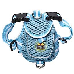 Adjustable Mesh Small Pet Harness with Reflective Trim in Blue