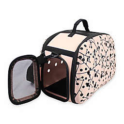 Narrow Shell Perforated Collapsible Pet Carrier in Pink/Black