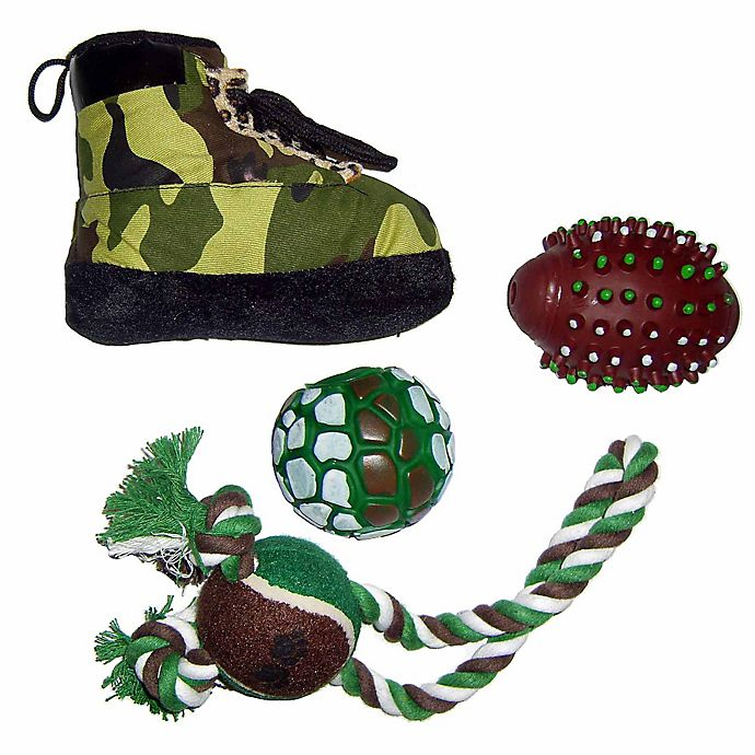 Alternate image 1 for Hunter-Themed 4-Piece Pet Toy Set in Camouflage
