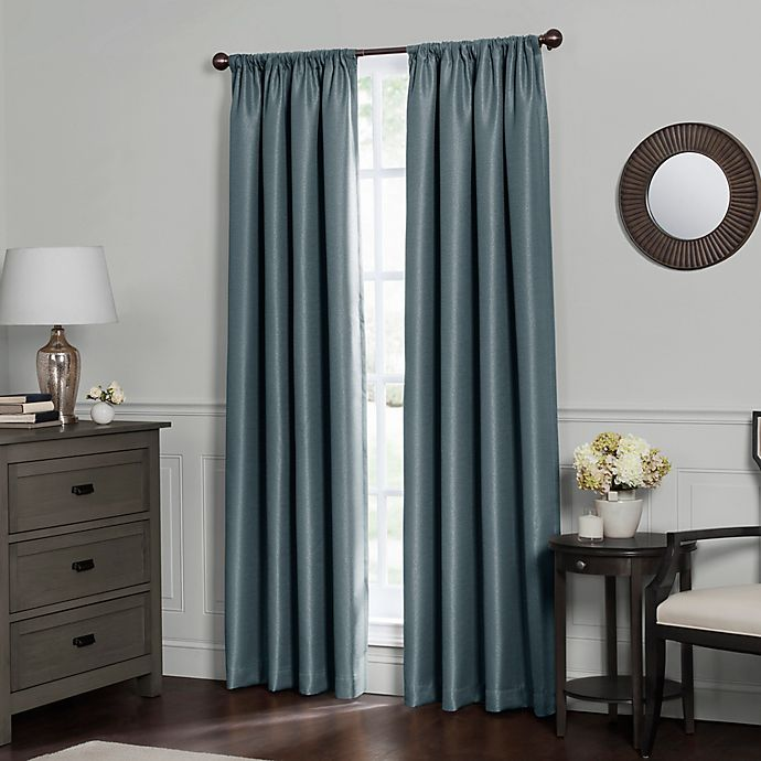 Alternate image 1 for Emery 63-Inch Rod Pocket Insulated Total Blackout™ Window Curtain Panel in Blue Haze