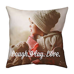 Square Dual Sided Photo Faux Down Throw Pillow