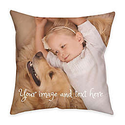 Square Dual Sided Photo Faux Linen Lite Throw Pillow