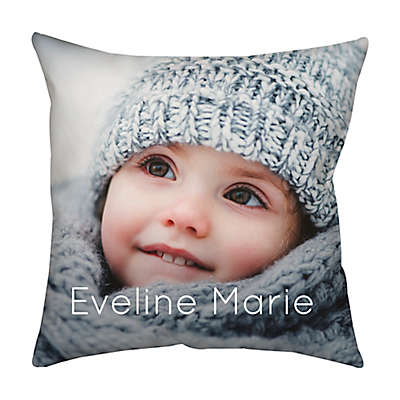 Square Dual Sided Photo Faux Linen Dark Throw Pillow
