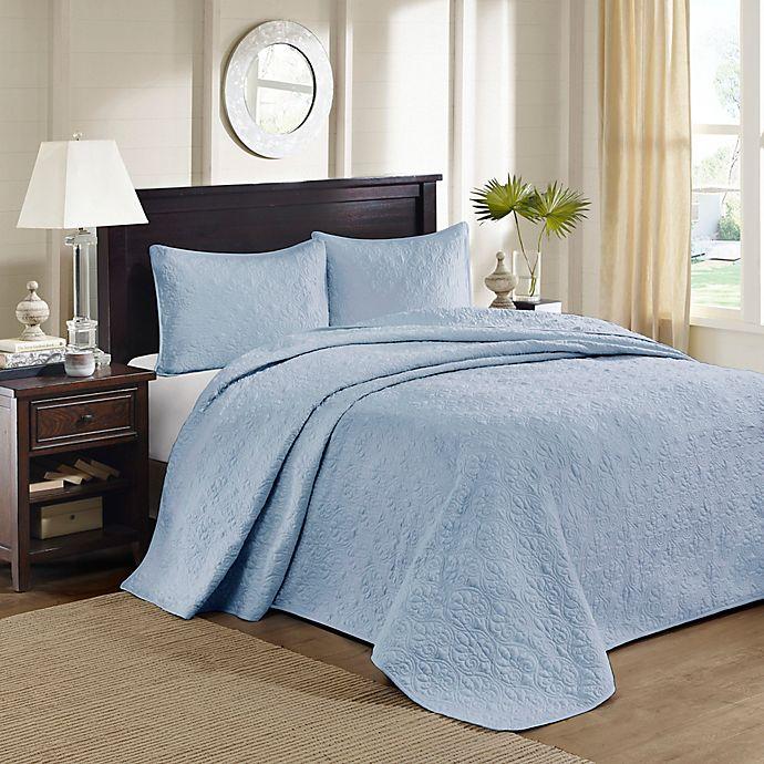 Alternate image 1 for Madison Park Quebec Reversible King Bedspread Set in Blue