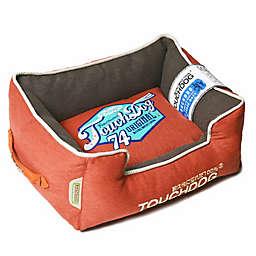 Touchdog® Sporty Vintage Throwback Large Rectangular Dog Bed in Brown/Orange
