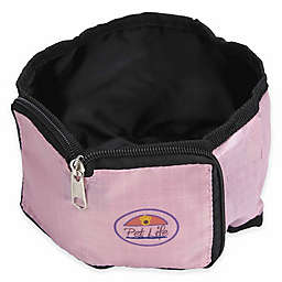 Pet Life Wallet Collapsible Zip-N-Go Travel Pet Bowls in Pink