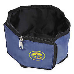 Pet Life Wallet Collapsible Zip-N-Go Travel Pet Bowls in Blue