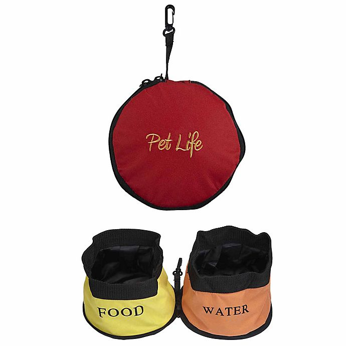 Alternate image 1 for Pet Life Double Collapsible Travel Water and Food Pet Bowls