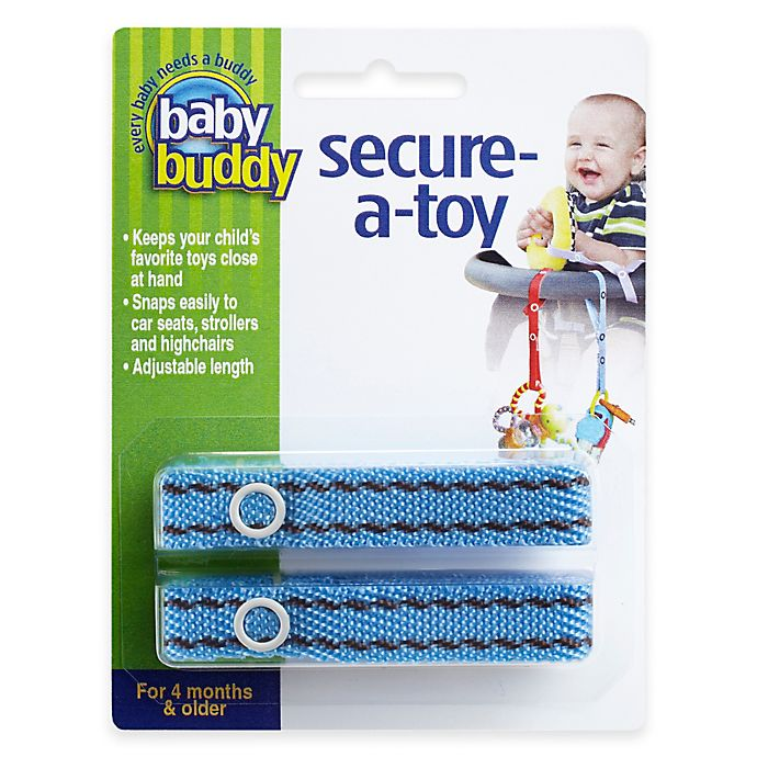 Alternate image 1 for Baby Buddy® 2-Pack Secure-A-Toy in Blue/Brown