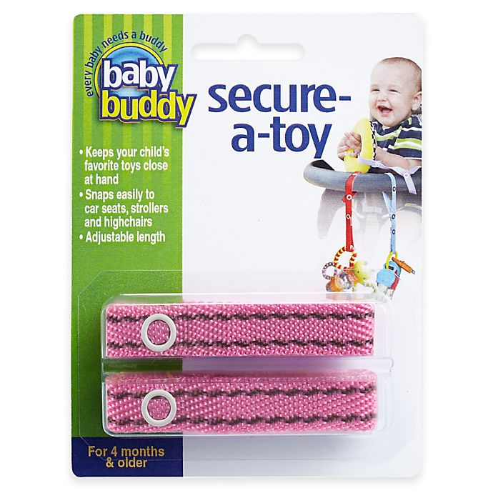 Alternate image 1 for Baby Buddy® 2-Pack Secure-A-Toy in Pink/Brown