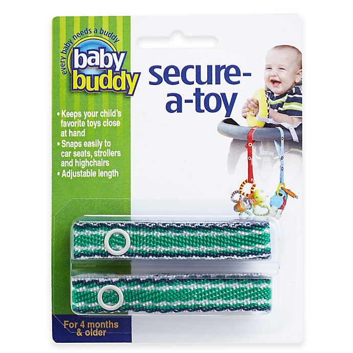 Alternate image 1 for Baby Buddy® Secure-a-Toy Straps in Navy/Green (Set of 2)