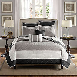 Madison Park Attingham 7-Piece Coverlet Set in Black/Grey