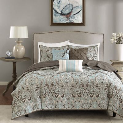 Madison Park Geneva 6 Piece Coverlet Set In Brown Bed Bath And Beyond Canada