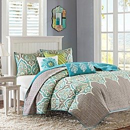 Madison Park Nisha 6-Piece Quilted Coverlet Set in Teal