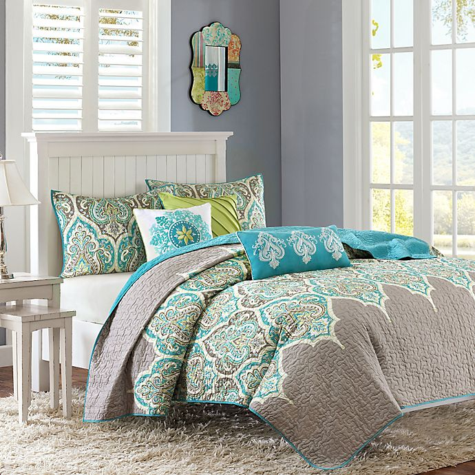Alternate image 1 for Madison Park Nisha 6-Piece Quilted Full/Queen Coverlet Set in Teal