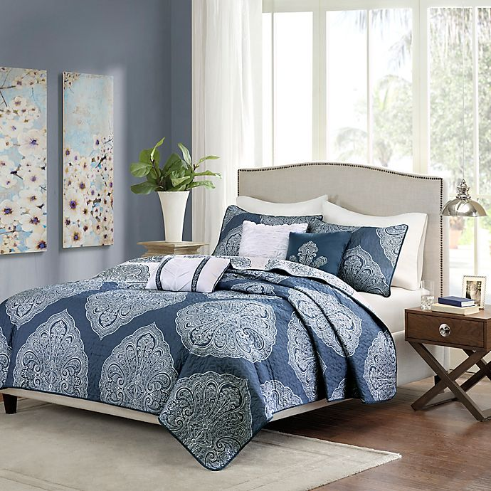 Alternate image 1 for Madison Park Rachel 6-Piece Reversible Quilted Full/Queen Coverlet Set in Navy