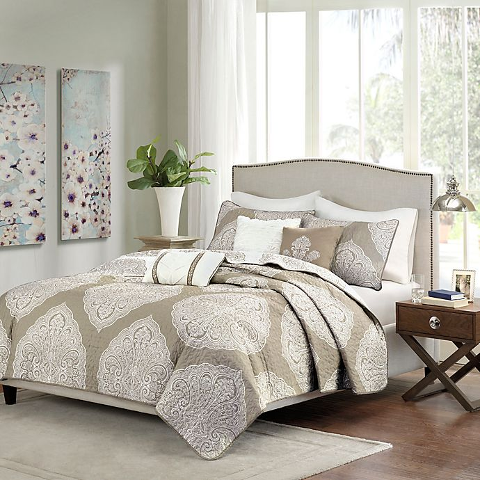 Alternate image 1 for Madison Park Rachel 6-Piece Reversible Quilted King/California King Coverlet Set in Taupe
