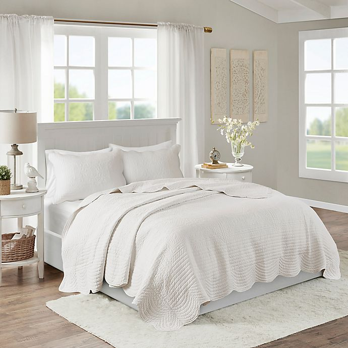 Alternate image 1 for Madison Park Tuscany 3-Piece Full/Queen Coverlet Set in White