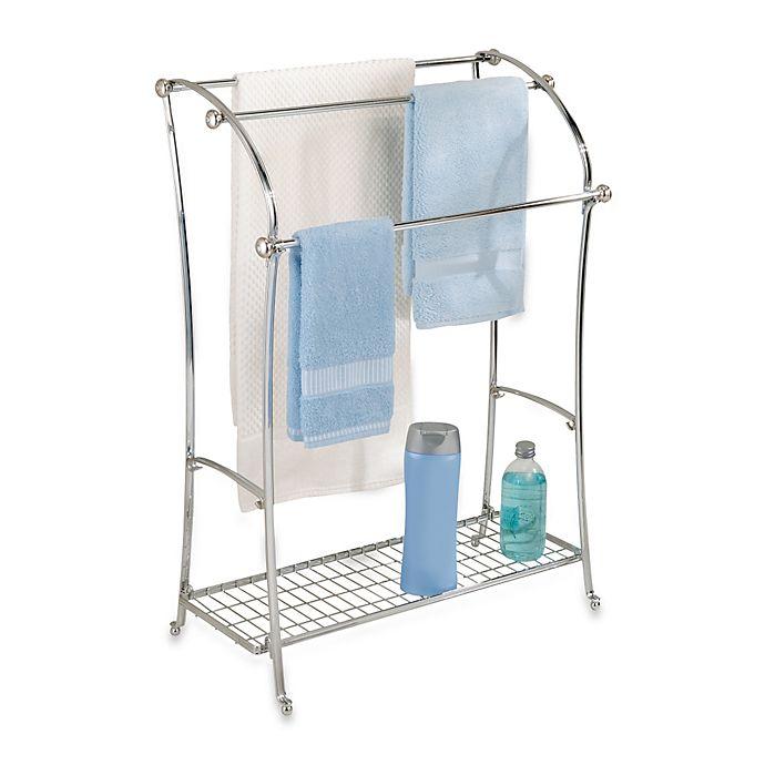 Alternate image 1 for InterDesign® York Lyra Split Finish 3-Rod Free Standing Towel Stand in Chrome
