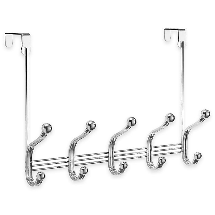 Alternate image 1 for InterDesign® York Lyra Over-the-Door 5-Hook Rack in Chrome