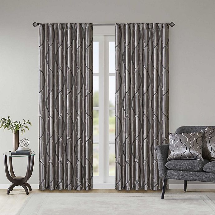 Alternate image 1 for Madison Park Serendipity 84-Inch Rod Pocket/Back Tab Window Curtain Panel in Charcoal