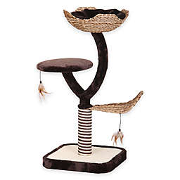 Cat-Life 3-Level Tower with Nest, Scratching Post, and Swatting Toy in Brown